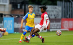 BOREHAMWOOD, ENGLAND - SEPTEMBER 02: Lewis Payne(L) of Southampton during the Premier League Cup match between Arsenal and Southampton B Team at Meadow Park on September 02, 2021 in Borehamwood, England. (Photo by Isabelle Field/Southampton FC )