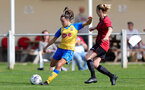 MIDDLESEX, ENGLAND - SEPTEMBER 05: Sophia Pharoah(L) of Southampton during the Women's National League Southern Premier match between Hounslow and Southampton Women at Rectory Meadow on September 05, 2021 in Middlesex, England. (Photo by Isabelle Field/Southampton FC via Getty Images)