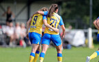 MIDDLESEX, ENGLAND - SEPTEMBER 05: Ella Pusey(L) and Leeta Rutherford(R) of Southampton during the Women's National League Southern Premier match between Hounslow and Southampton Women at Rectory Meadow on September 05, 2021 in Middlesex, England. (Photo by Isabelle Field/Southampton FC via Getty Images)