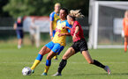 MIDDLESEX, ENGLAND - SEPTEMBER 05: Laura Rafferty (L) of Southampton during the Women's National League Southern Premier match between Hounslow and Southampton Women at Rectory Meadow on September 05, 2021 in Middlesex, England. (Photo by Isabelle Field/Southampton FC via Getty Images)