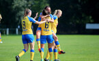 MIDDLESEX, ENGLAND - SEPTEMBER 05: Leeta Rutherford of Southampton celebrates scoring with Ella Pusey(L) and Laura Rafferty(6) during the Women's National League Southern Premier match between Hounslow and Southampton Women at Rectory Meadow on September 05, 2021 in Middlesex, England. (Photo by Isabelle Field/Southampton FC via Getty Images)