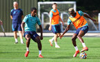 SOUTHAMPTON, ENGLAND - SEPTEMBER 07: Ibrahima Diallo(L) and Moussa Djenepo during a Southampton FC training session at the Staplewood Campus on September 07, 2021 in Southampton, England. (Photo by Matt Watson/Southampton FC via Getty Images)