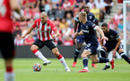 SOUTHAMPTON, ENGLAND - SEPTEMBER 11: Oriol Romeu(L) of Southampton during the Premier League match between Southampton  and  West Ham United at St Mary's Stadium on September 11, 2021 in Southampton, England. (Photo by Isabelle Field/Southampton FC via Getty Images)