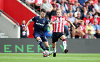 SOUTHAMPTON, ENGLAND - SEPTEMBER 11: James Ward-Prowse(R) of Southampton during the Premier League match between Southampton  and  West Ham United at St Mary's Stadium on September 11, 2021 in Southampton, England. (Photo by Isabelle Field/Southampton FC via Getty Images)