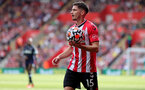 SOUTHAMPTON, ENGLAND - SEPTEMBER 11: Romain Perraud of Southampton during the Premier League match between Southampton  and  West Ham United at St Mary's Stadium on September 11, 2021 in Southampton, England. (Photo by Isabelle Field/Southampton FC via Getty Images)