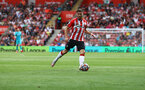 SOUTHAMPTON, ENGLAND - SEPTEMBER 11: Romain Perraud of Southampton during the Premier League match between Southampton  and  West Ham United at St Mary's Stadium on September 11, 2021 in Southampton, England. (Photo by Matt Watson/Southampton FC via Getty Images)