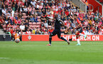 SOUTHAMPTON, ENGLAND - SEPTEMBER 11: Armando Broja of Southampton shoots against the post during the Premier League match between Southampton  and  West Ham United at St Mary's Stadium on September 11, 2021 in Southampton, England. (Photo by Matt Watson/Southampton FC via Getty Images)