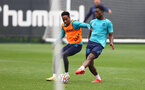 SOUTHAMPTON, ENGLAND - SEPTEMBER 14: Kyle Walker-Peters(L) and Thierry Small during a Southampton FC training session at the Staplewood Campus on September 14, 2021 in Southampton, England. (Photo by Matt Watson/Southampton FC via Getty Images)