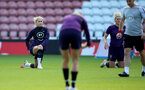 SOUTHAMPTON, ENGLAND - SEPTEMBER 16: Steph Houghton (L) and Millie Bright(R) during England Women's training session at St Mary's Stadium on September 16, 2021 in Southampton, England. (Photo by Isabelle Field/Southampton FC via Getty Images)
