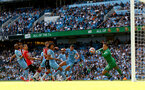 MANCHESTER, ENGLAND - SEPTEMBER 18: Ederson(R) of Manchester City denies James Ward-Prowse of Southampton during the Premier League match between Manchester City and Southampton at Etihad Stadium on September 18, 2021 in Manchester, England. (Photo by Matt Watson/Southampton FC via Getty Images)