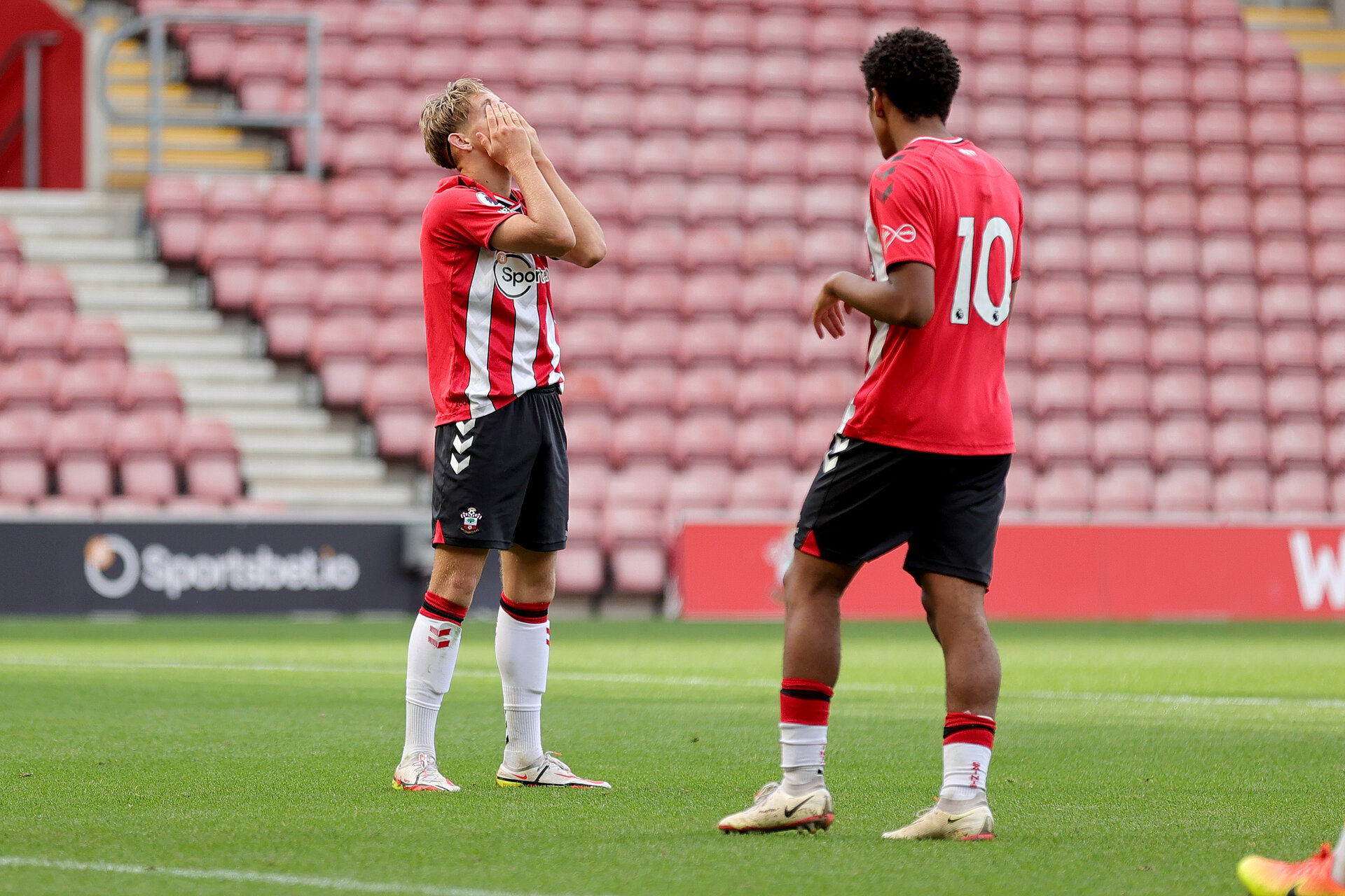 SOUTHAMPTON, ENGLAND - SEPTEMBER 19:  during the Premier League 2 match between Southampton B Team and Burnley at St Mary's Stadium on September 19, 2021 in Southampton, England. (Photo by Isabelle Field/Southampton FC via Getty Images)