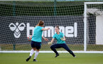 SOUTHAMPTON, ENGLAND - SEPTEMBER 22: Sara Luce(R) during Southampton Women's training at Staplewood Training Ground on September 22, 2021 in Southampton, England. (Photo by Isabelle Field/Southampton FC via Getty Images)