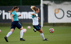 SOUTHAMPTON, ENGLAND - SEPTEMBER 22: Shannon Sievwright(L) and Shelly Provan(R) during Southampton Women's training at Staplewood Training Ground on September 22, 2021 in Southampton, England. (Photo by Isabelle Field/Southampton FC via Getty Images)