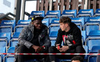 SOUTHAMPTON, ENGLAND - SEPTEMBER 23: Dynel Simeu(L) and Will Tizzard(R) watching from the stands during the Premier League Cup match between Southampton B Team and West Bromwich Albion at Snows Stadium on September 23, 2021 in Southampton, England. (Photo by Isabelle Field/Southampton FC via Getty Images)
