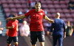 SOUTHAMPTON, ENGLAND - SEPTEMBER 26: Jan Bednarek of Southampton warms up ahead of the Premier League match between Southampton and Wolverhampton Wanderers at St Mary's Stadium on September 26, 2021 in Southampton, England. (Photo by Matt Watson/Southampton FC via Getty Images)