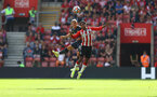 SOUTHAMPTON, ENGLAND - SEPTEMBER 26: Nathan Tella(R) of Southampton during the Premier League match between Southampton and Wolverhampton Wanderers at St Mary's Stadium on September 26, 2021 in Southampton, England. (Photo by Matt Watson/Southampton FC via Getty Images)