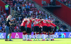 SOUTHAMPTON, ENGLAND - SEPTEMBER 26: Saints huddle during the Premier League match between Southampton and Wolverhampton Wanderers at St Mary's Stadium on September 26, 2021, in Southampton, England. (Photo by Chris Moorhouse/Southampton FC via Getty Images)
