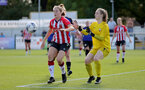 CHELTENHAM, ENGLAND - SEPTEMBER 26: Lucia Kendall(L) of Southampton during the FA National League Southern Premier match between   Southampton Women and London Bees at The Snows Stadium on September 26, 2021 in  Cheltenham, England. (Photo by Isabelle Field/Southampton FC via Getty Images)