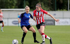 CHELTENHAM, ENGLAND - SEPTEMBER 26: Ella Pusey(R) of Southampton during the FA National League Southern Premier match between   Southampton Women and London Bees at The Snows Stadium on September 26, 2021 in  Cheltenham, England. (Photo by Isabelle Field/Southampton FC via Getty Images)