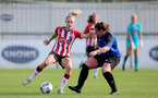 CHELTENHAM, ENGLAND - SEPTEMBER 26: Phoebe Williams(L) of Southampton during the FA National League Southern Premier match between   Southampton Women and London Bees at The Snows Stadium on September 26, 2021 in  Cheltenham, England. (Photo by Isabelle Field/Southampton FC via Getty Images)