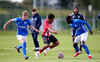 BIRMINGHAM, ENGLAND - SEPTEMBER 27: Caleb Watts(center) of Southampton during the Premier League 2 match between Birmingham City and Southampton B Team at Wast Hills Training Ground on September 27, 2021 in Birmingham , England. (Photo by Isabelle Field/Southampton FC via Getty Images)