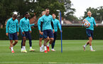 SOUTHAMPTON, ENGLAND - SEPTEMBER 30: Lyanco(centre right) laughs with his team mates  during a Southampton FC training session at the Staplewood Campus on September 30, 2021 in Southampton, England. (Photo by Matt Watson/Southampton FC via Getty Images)
