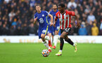LONDON, ENGLAND - OCTOBER 02: Nathan Tella of Southampton during the Premier League match between Chelsea and Southampton at Stamford Bridge on October 02, 2021 in London, England. (Photo by Matt Watson/Southampton FC via Getty Images)