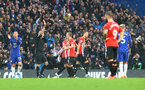 LONDON, ENGLAND - OCTOBER 02: James Ward-Prowse of Southampton is shown a red card during the Premier League match between Chelsea and Southampton at Stamford Bridge on October 02, 2021 in London, England. (Photo by Matt Watson/Southampton FC via Getty Images)