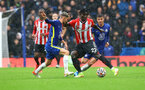 LONDON, ENGLAND - OCTOBER 02: Mohammed Salisu(R) of Southampton during the Premier League match between Chelsea and Southampton at Stamford Bridge on October 02, 2021 in London, England. (Photo by Matt Watson/Southampton FC via Getty Images)