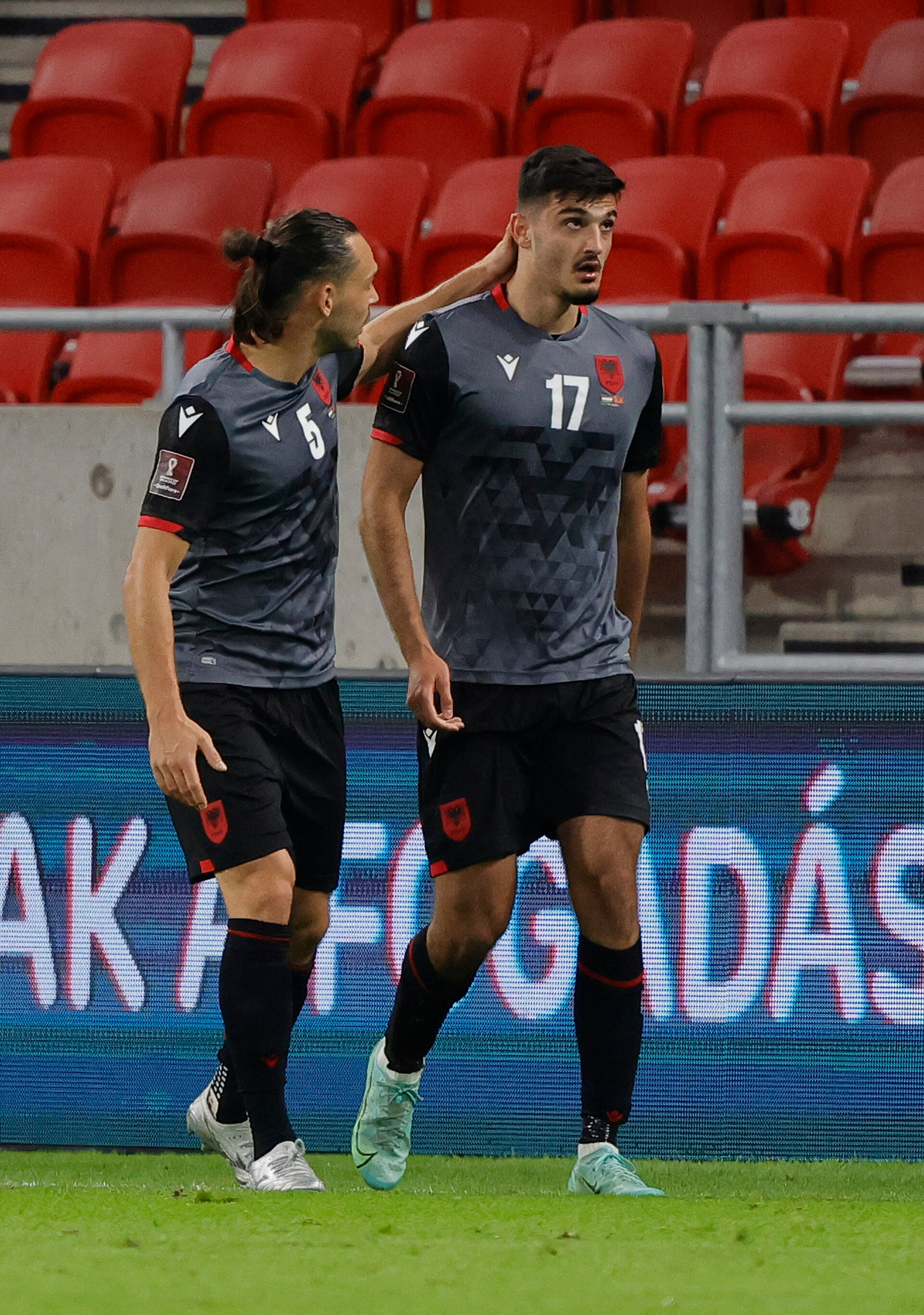BUDAPEST, HUNGARY - OCTOBER 09: Albania celebrate Armando Broja scoring the first goal during the 2022 FIFA World Cup Qualifier match between Hungary and Albania at Puskas Arena on October 09, 2021 in Budapest, . (Photo by Laszlo Szirtesi/Getty Images)