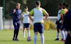 SOUTHAMPTON, ENGLAND - OCTOBER 11: Mikey Harris(L) during Southampton U18s training session at Staplewood Training Ground on October 12, 2021 in Southampton, England. (Photo by Isabelle Field/Southampton FC via Getty Images)