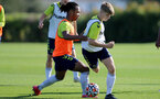 SOUTHAMPTON, ENGLAND - OCTOBER 11: Diamond Edwards(L) during Southampton U18s training session at Staplewood Training Ground on October 12, 2021 in Southampton, England. (Photo by Isabelle Field/Southampton FC via Getty Images)